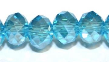 72pcs x 10mm Aqua blue with AB coating rondelle faceted glass beads -- S.J -- 3005722